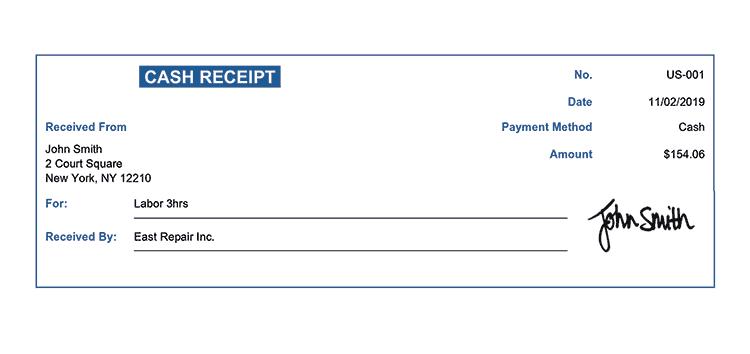 Cash Receipt Template Us Classic Blue Receipt
