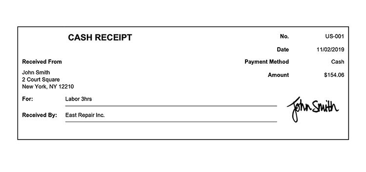 Cash Receipt Template Us Classic White Receipt