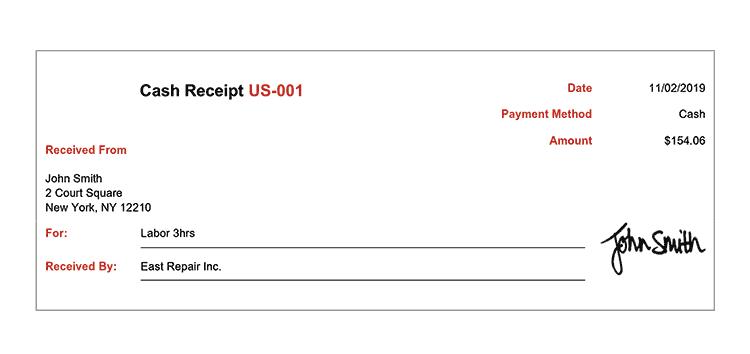 Cash Receipt Template Us Modern Red Receipt