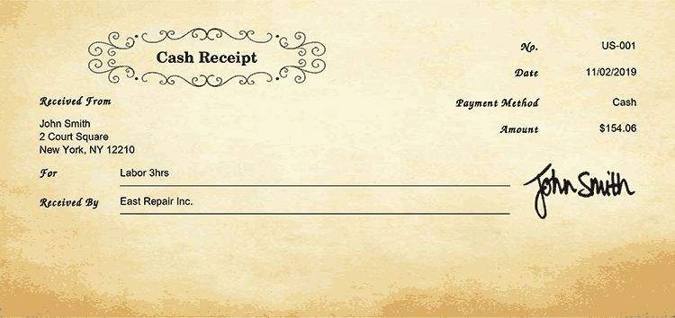 Cash Receipt Template Us Oldie Receipt