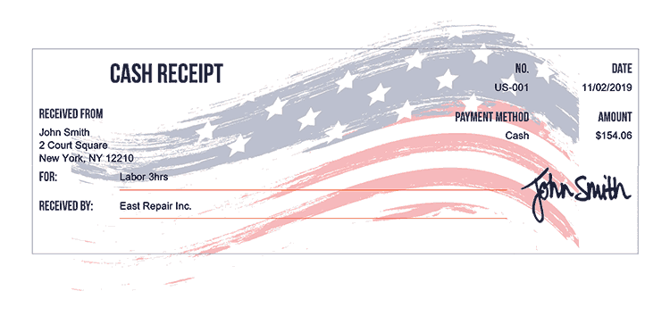 Cash Receipt Template Us Us Flag Receipt