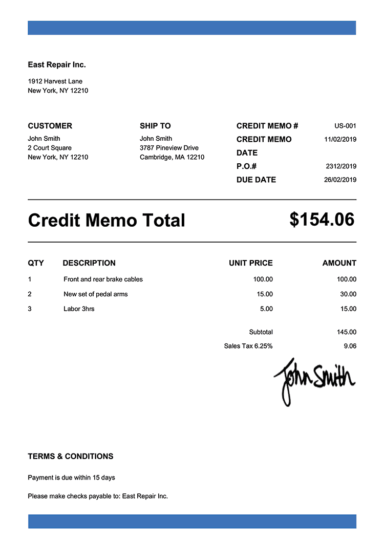 Credit Memo Template Us Band Blue