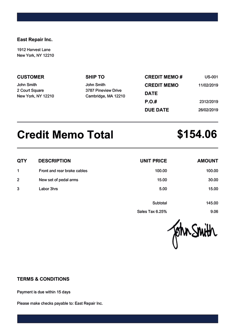 Credit Memo Template Us Band Navy Blue