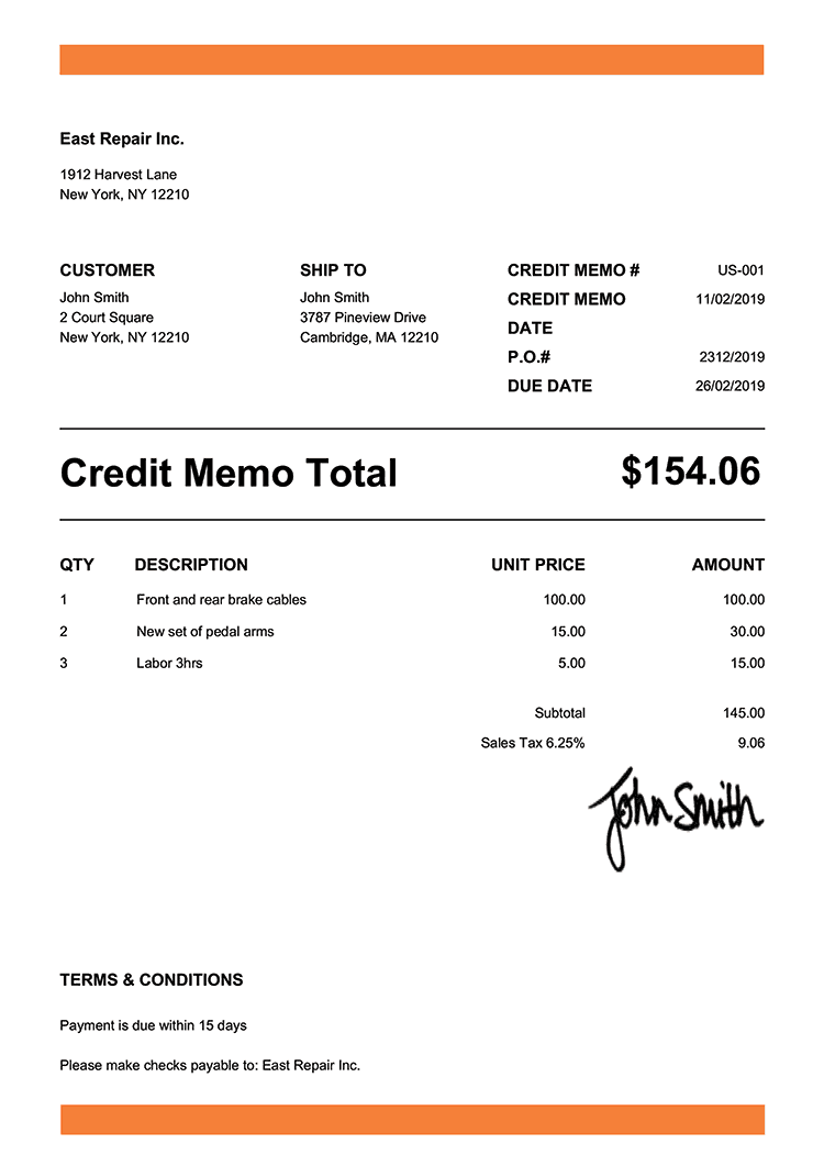 Credit Memo Template Us Band Orange
