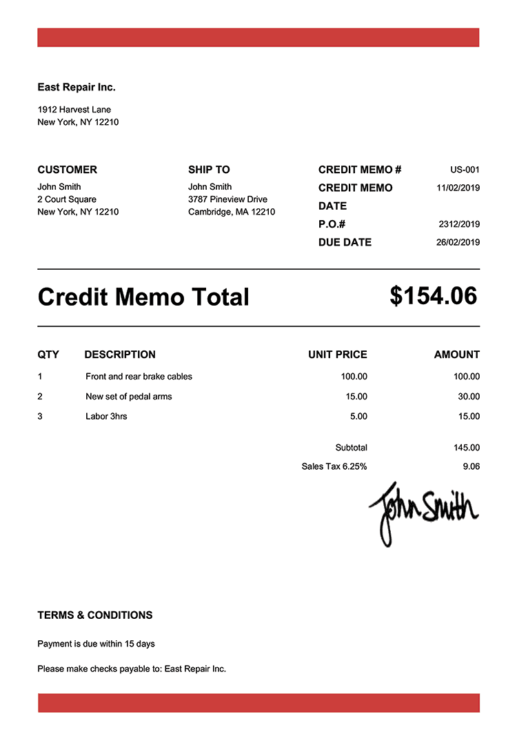Credit Memo Template Us Band Red
