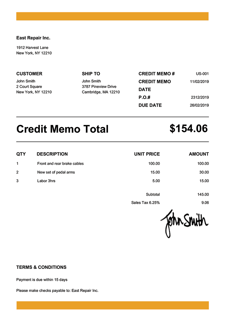 Credit Memo Template Us Band Yellow