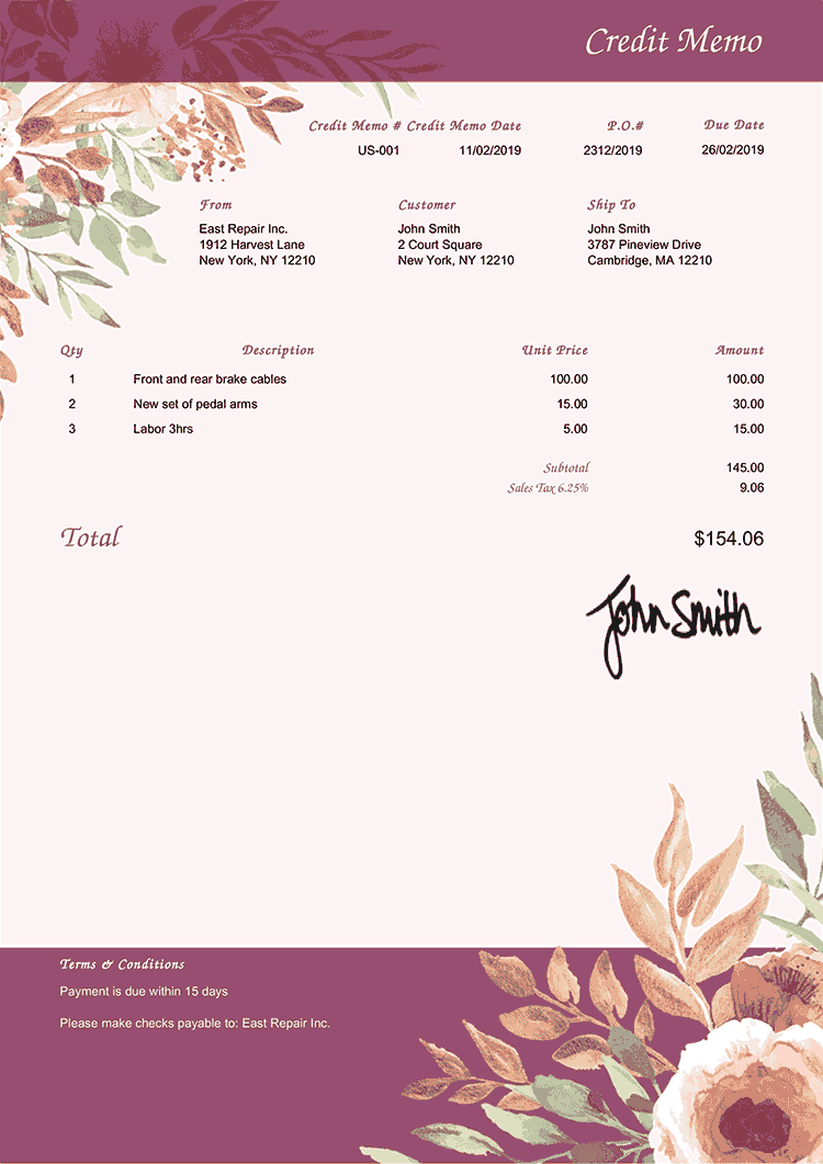 Credit Memo Template Us Blooming Plum