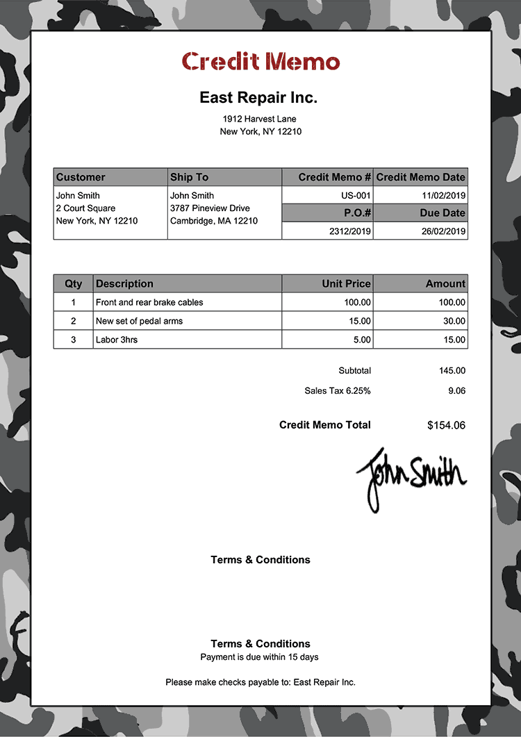 Credit Memo Template Us Camo Gray