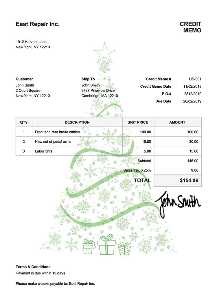 Credit Memo Template Us Christmas Tree Green