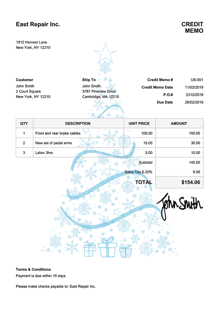 Credit Memo Template Us Christmas Tree Light Blue