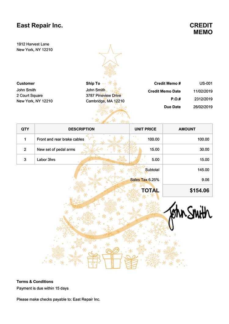 Credit Memo Template Us Christmas Tree Yellow