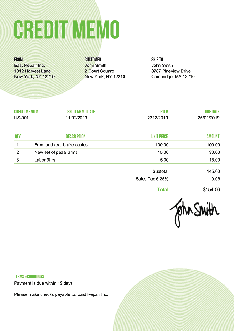 Credit Memo Template Us Circles Green