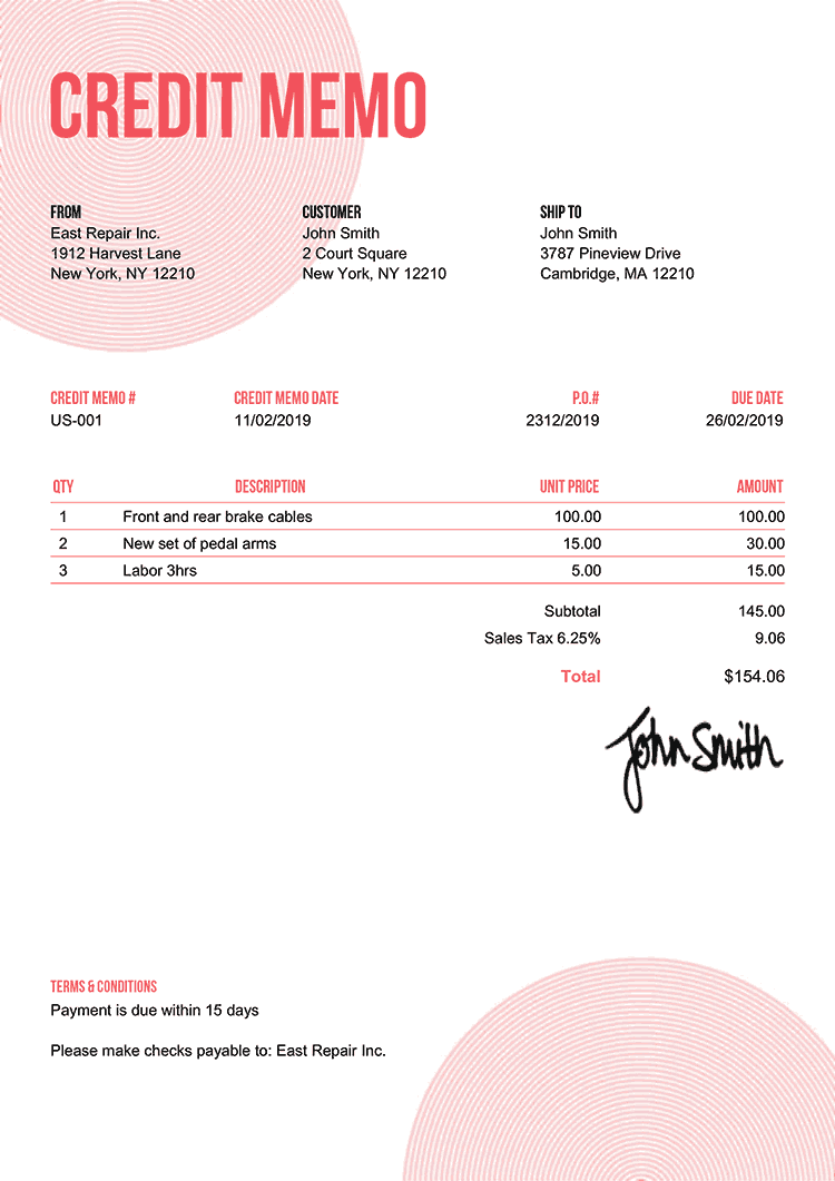 Credit Memo Template Us Circles Pink