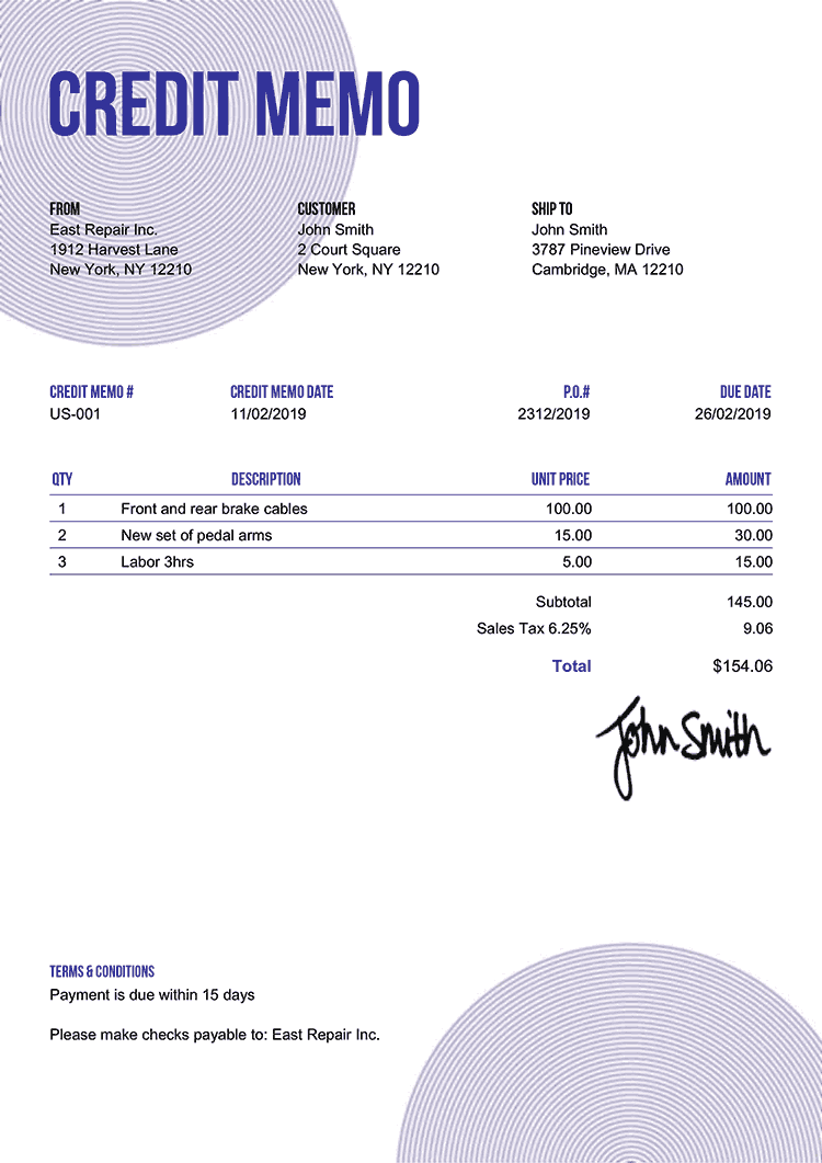 Credit Memo Template Us Circles Purple