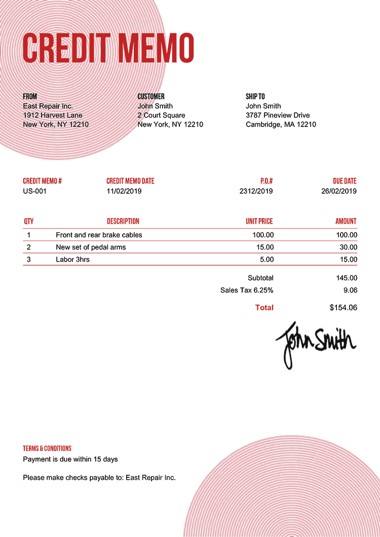 Credit Memo Template Us Circles Red