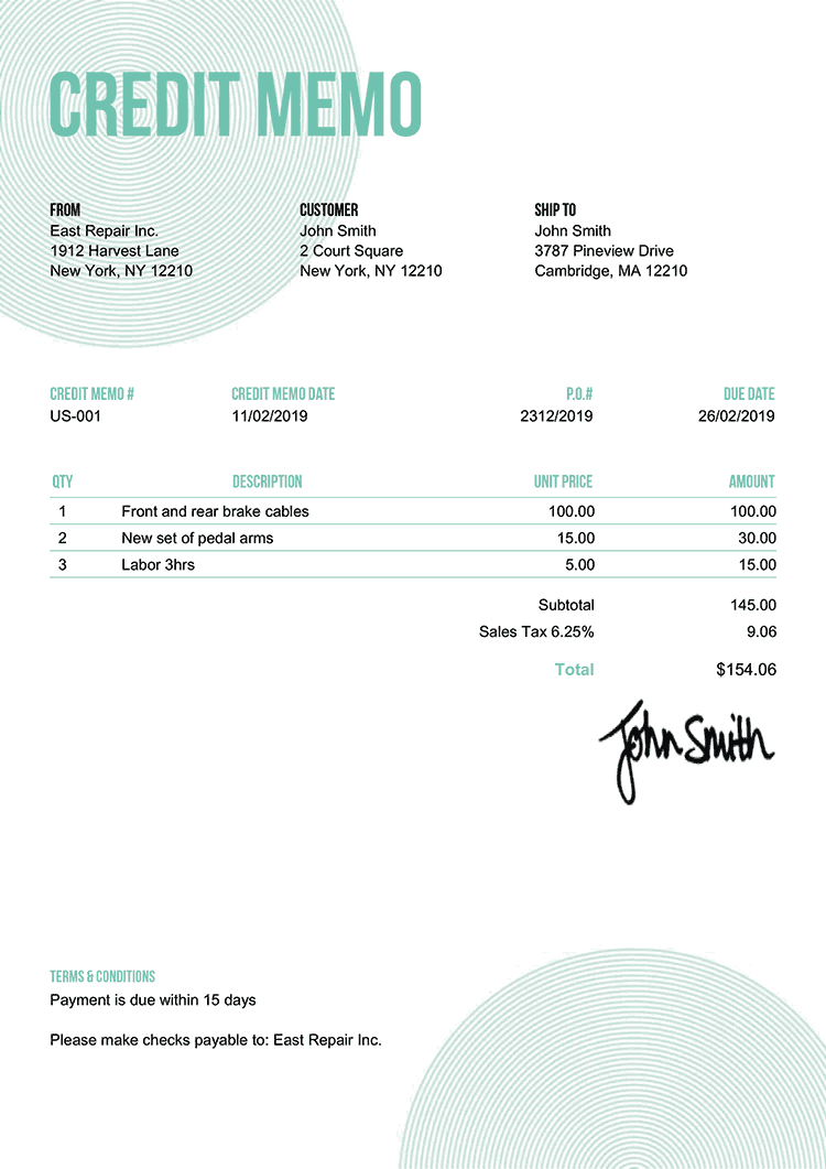 Credit Memo Template Us Circles Turquoise