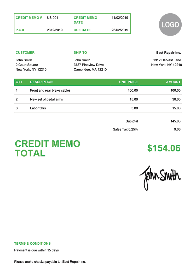 Credit Memo Template Us Clean Green