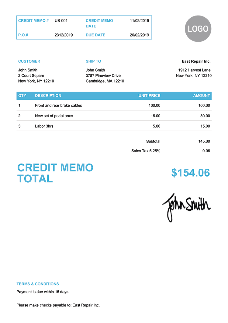Credit Memo Template Us Clean Light Blue