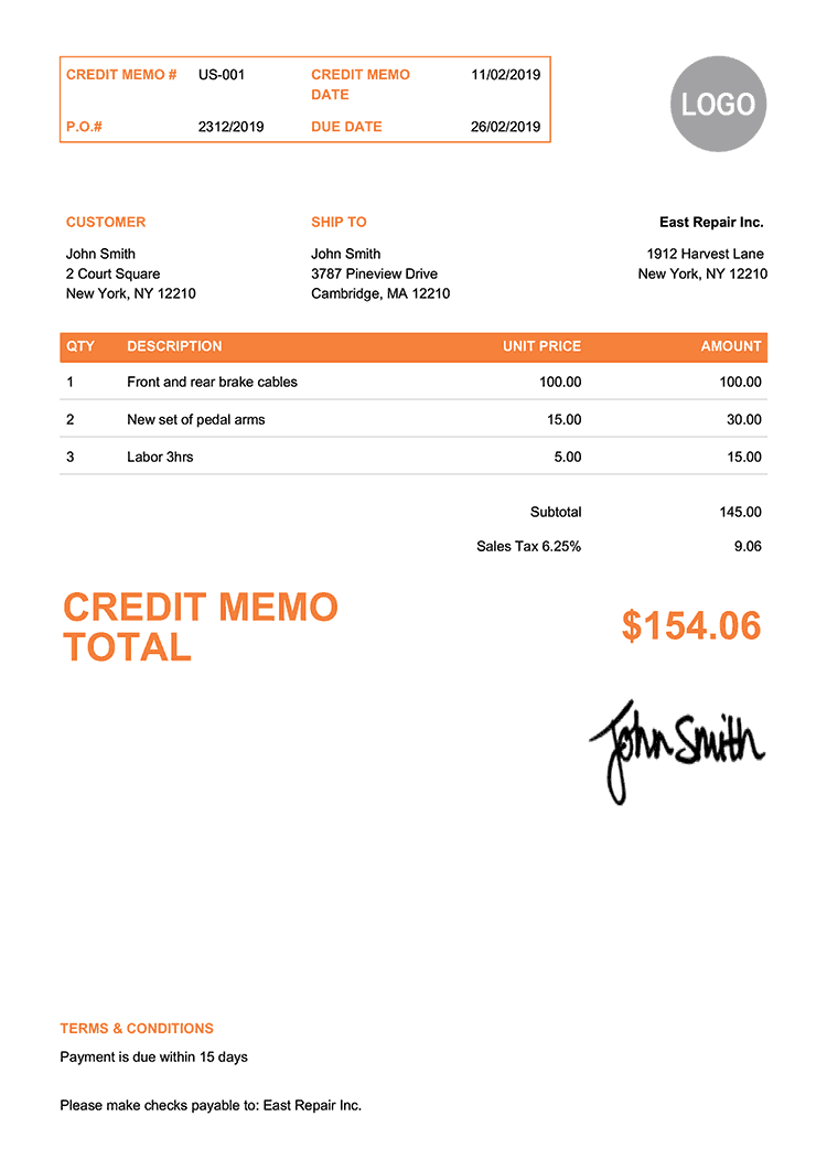 Credit Memo Template Us Clean Orange