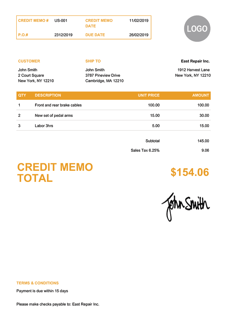 Credit Memo Template Us Clean Yellow