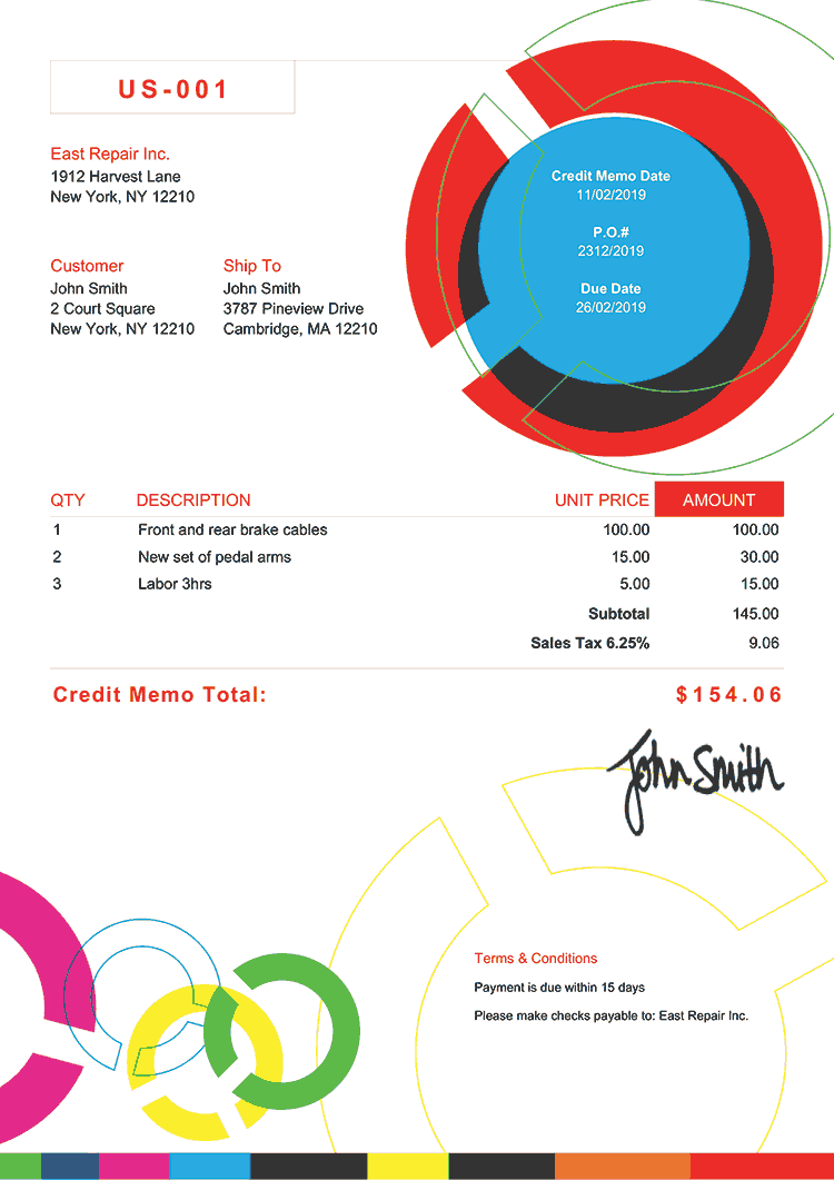 Credit Memo Template Us Connect Multi