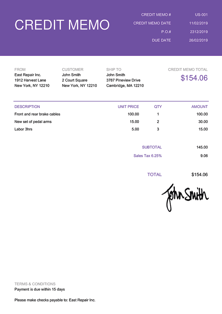 Credit Memo Template Us Contemporary Purple