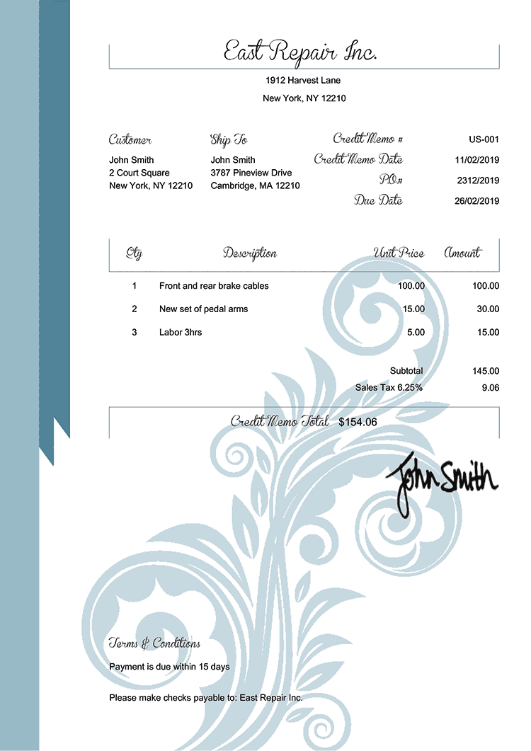 Credit Memo Template Us Elegance Blue