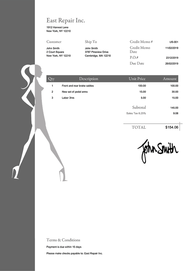 Credit Memo Template Us Fashionista Gray