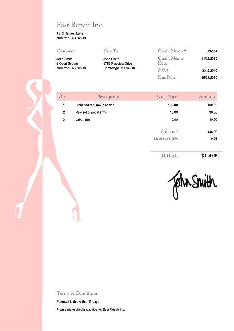 Credit Memo Template Us Fashionista Peach