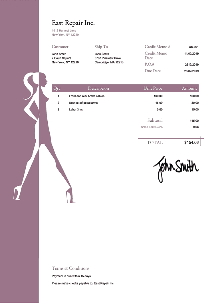 Credit Memo Template Us Fashionista Plum