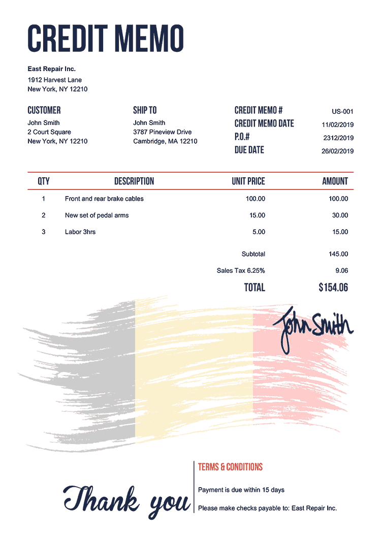 Credit Memo Template Us Flag Of Belgium