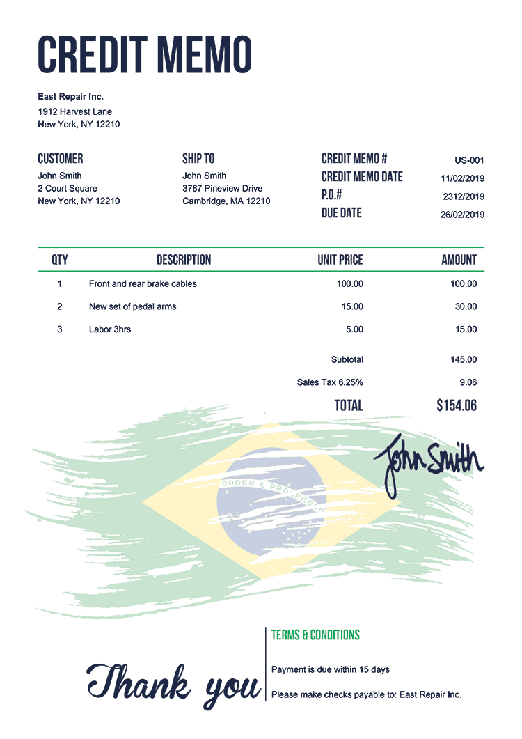 Credit Memo Template Us Flag Of Brazil