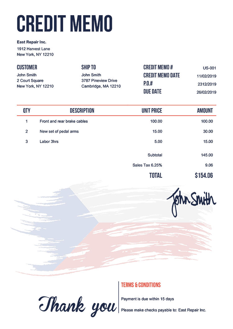Credit Memo Template Us Flag Of Czechia
