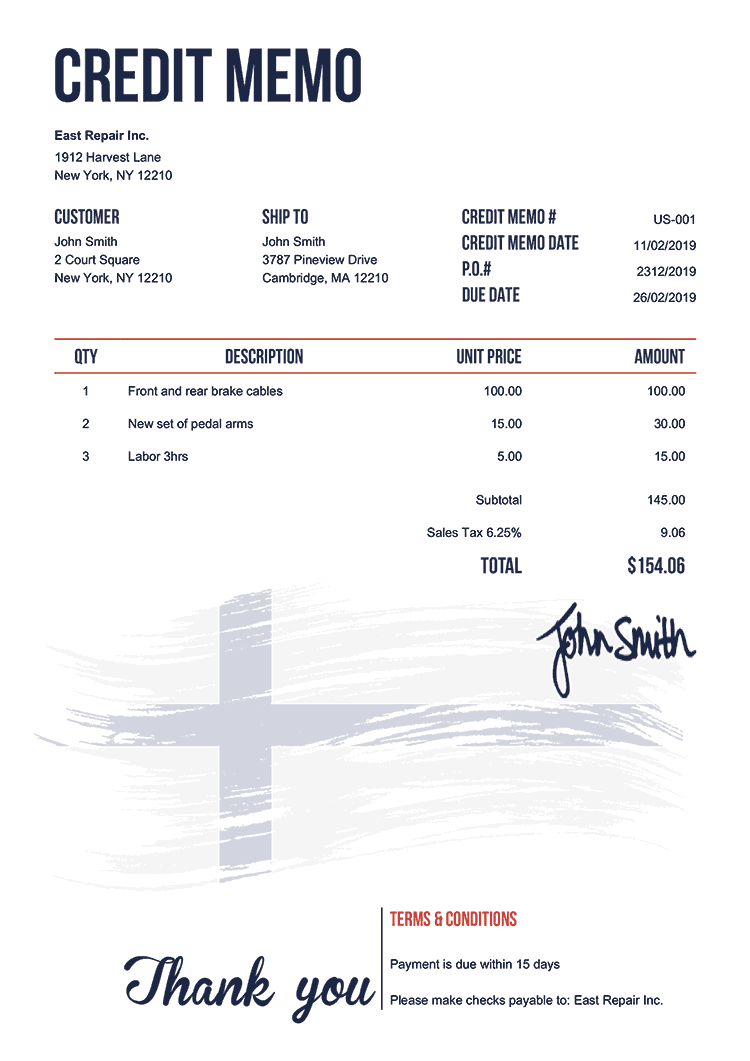 Credit Memo Template Us Flag Of Finland