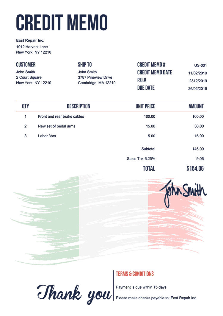 Credit Memo Template Us Flag Of Italy