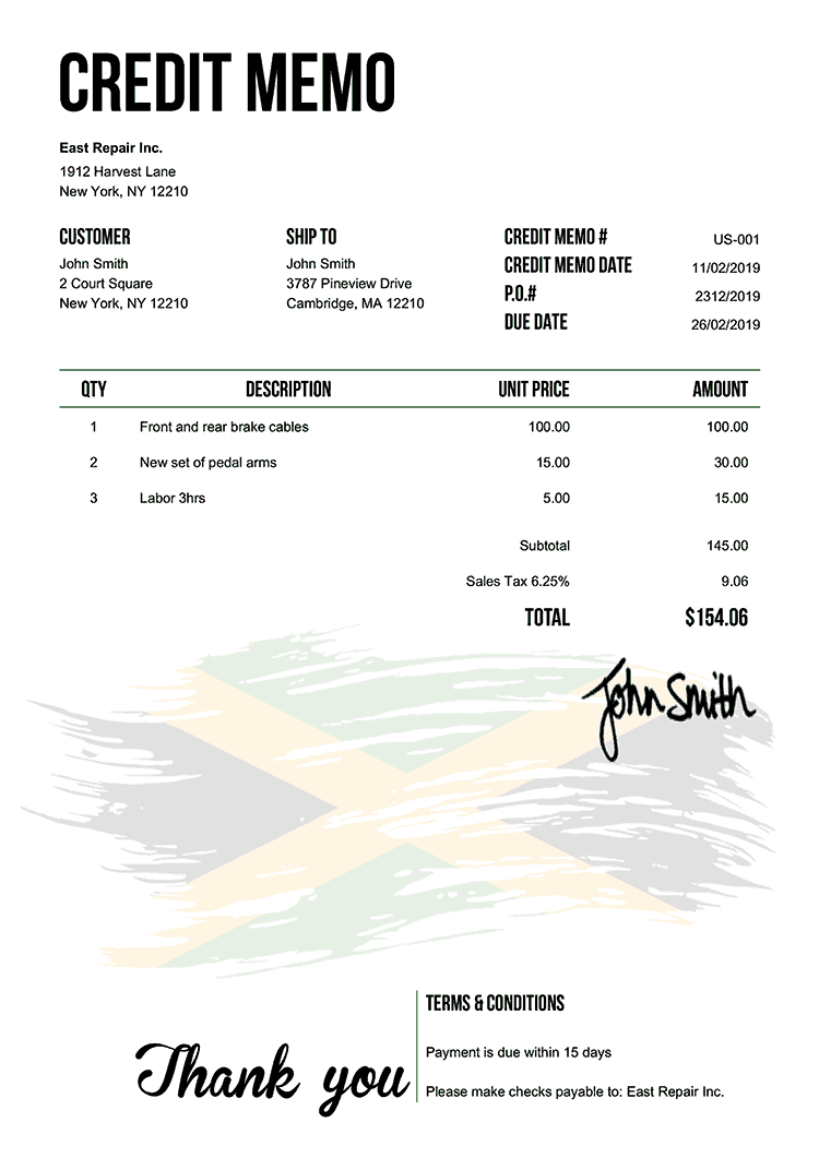 Credit Memo Template Us Flag Of Jamaica