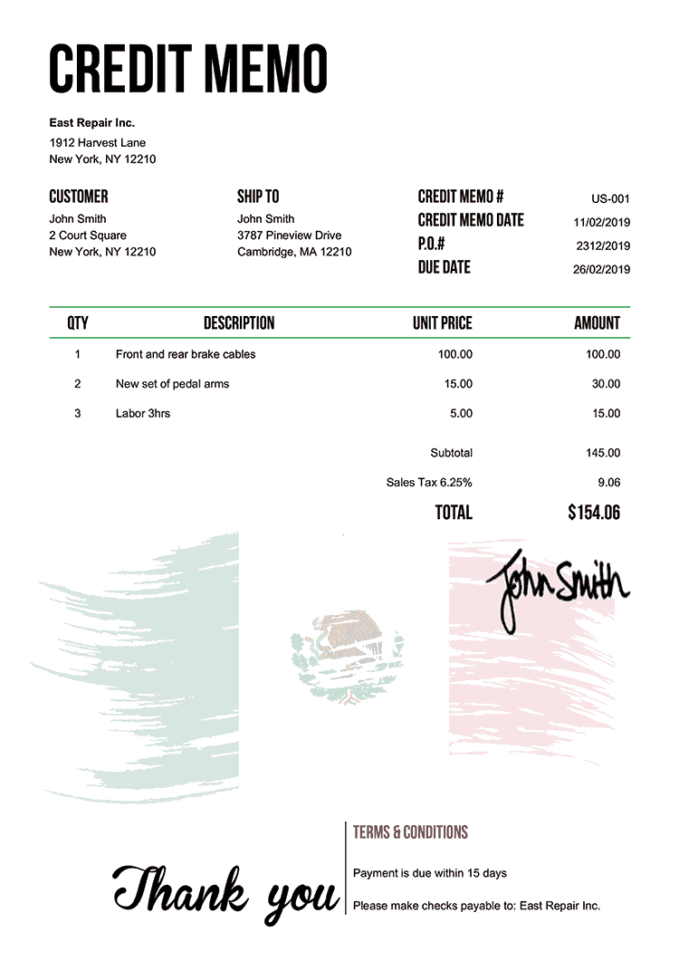 Credit Memo Template Us Flag Of Mexico