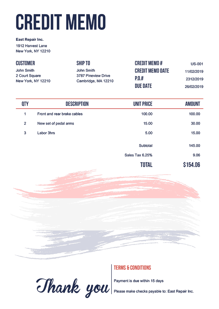 Credit Memo Template Us Flag Of Netherland