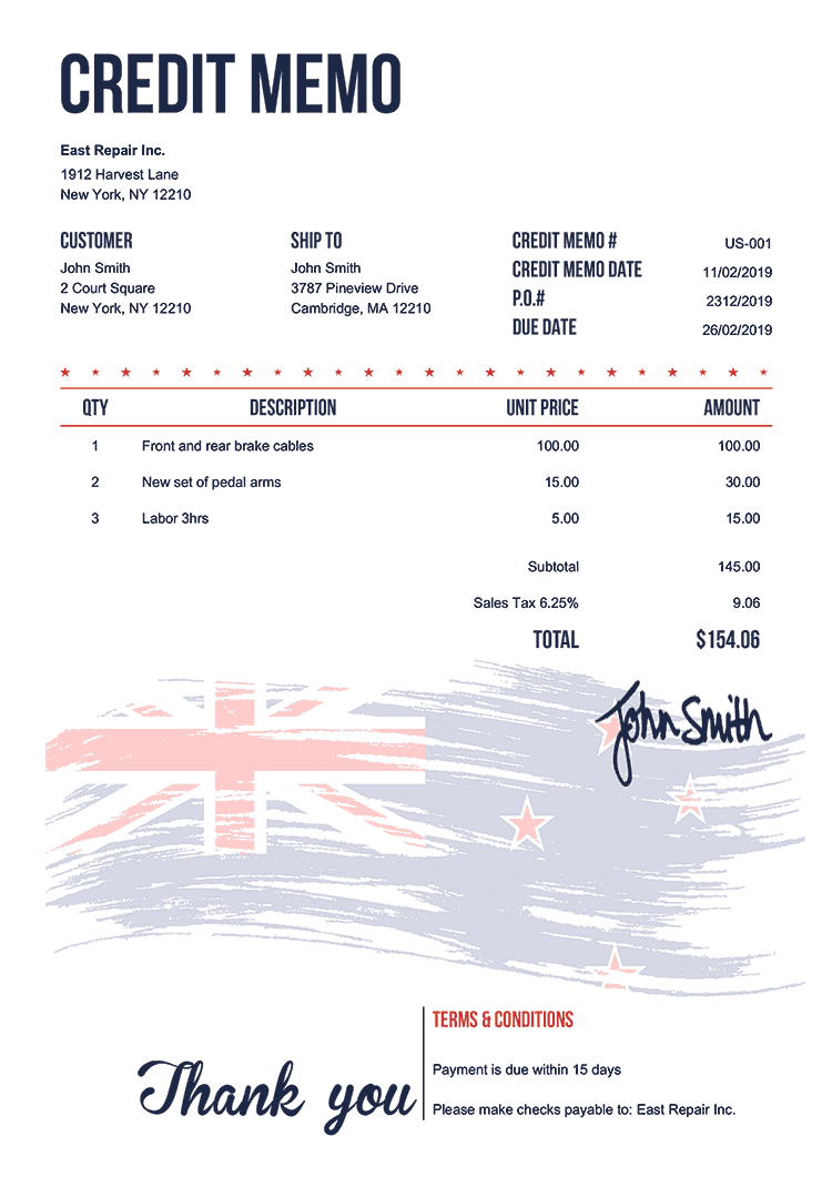 Credit Memo Template Us Flag Of New Zealand