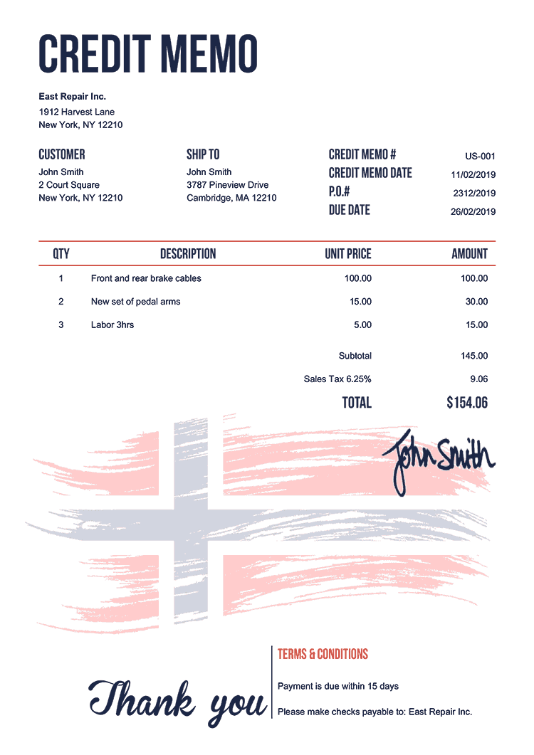 Credit Memo Template Us Flag Of Norway