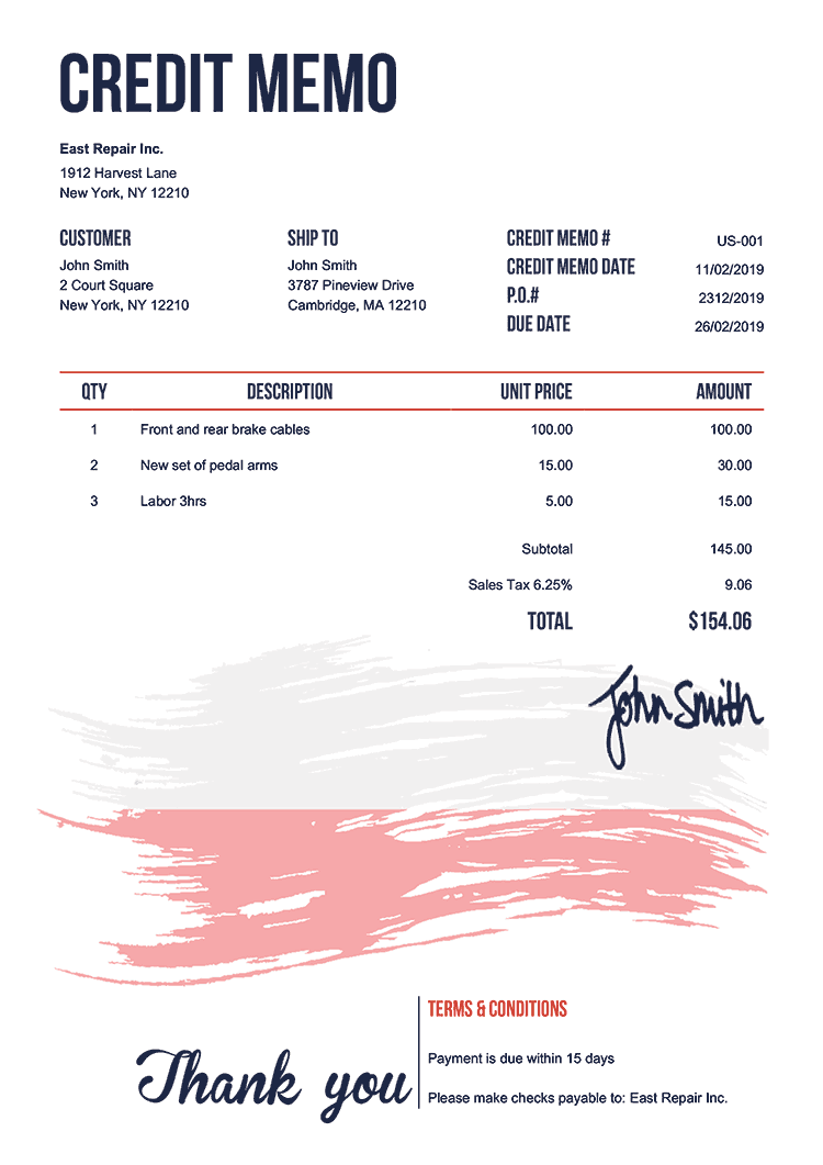 Credit Memo Template Us Flag Of Poland