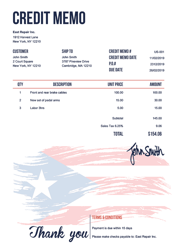 Credit Memo Template Us Flag Of Puerto Rico