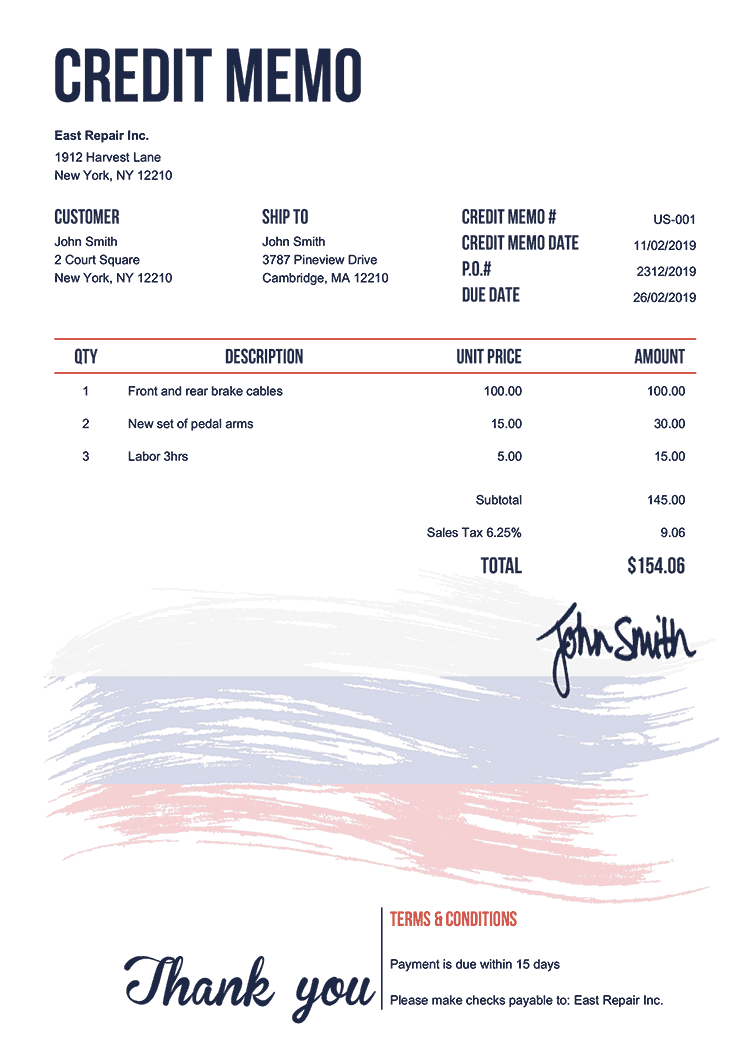Credit Memo Template Us Flag Of Russia