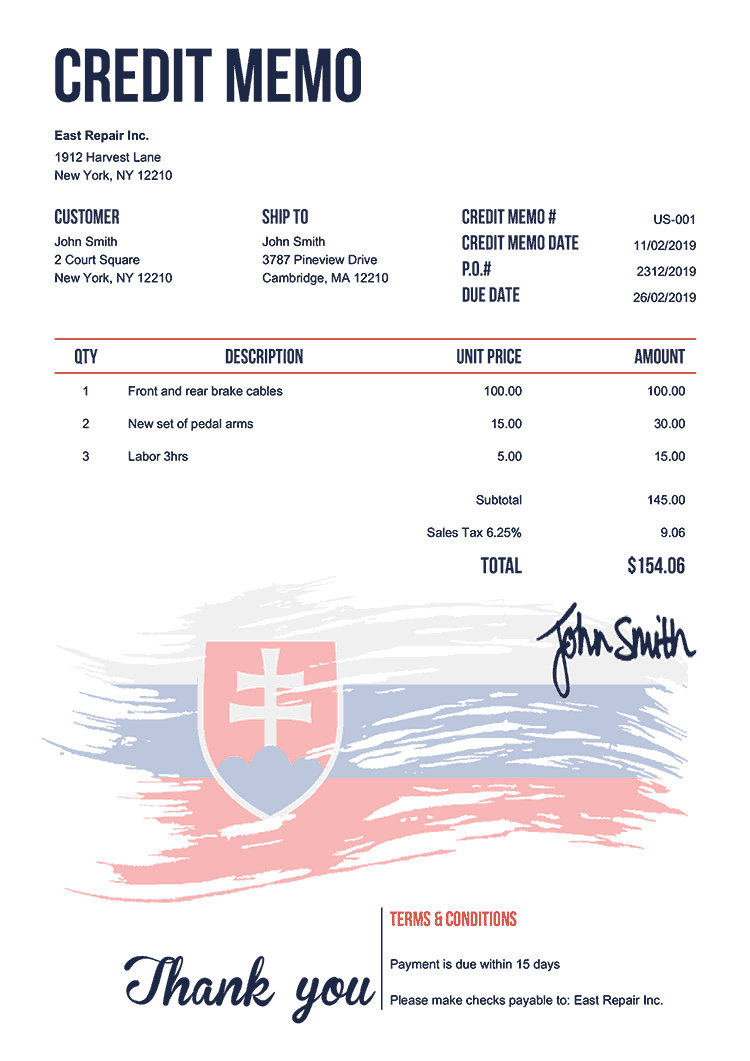 Credit Memo Template Us Flag Of Slovakia