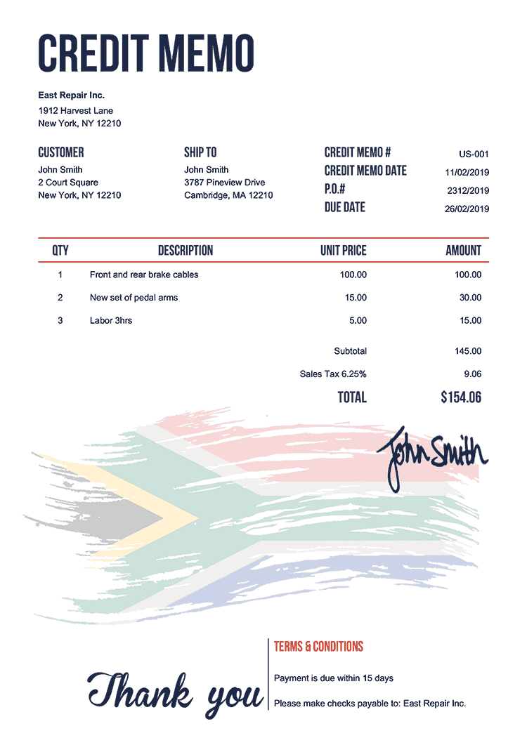 Credit Memo Template Us Flag Of South Africa