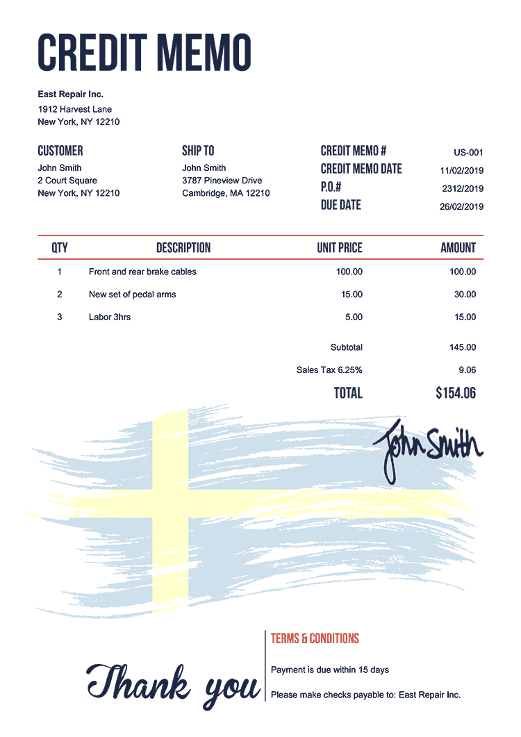 Credit Memo Template Us Flag Of Sweden