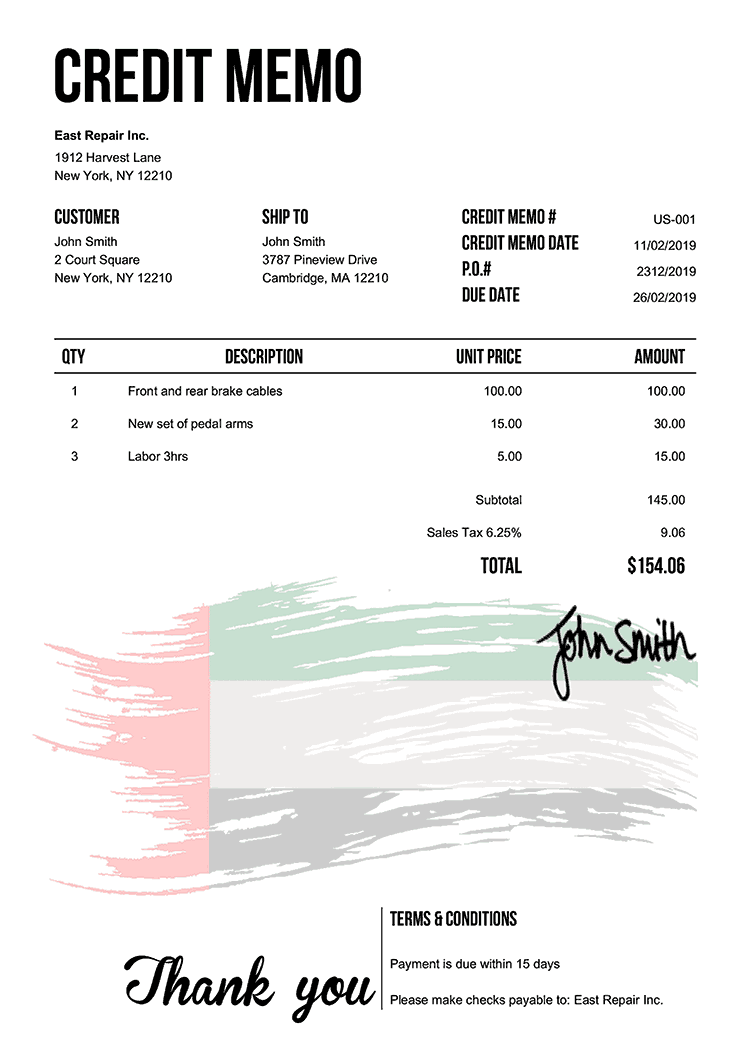 Credit Memo Template Us Flag Of The Uae