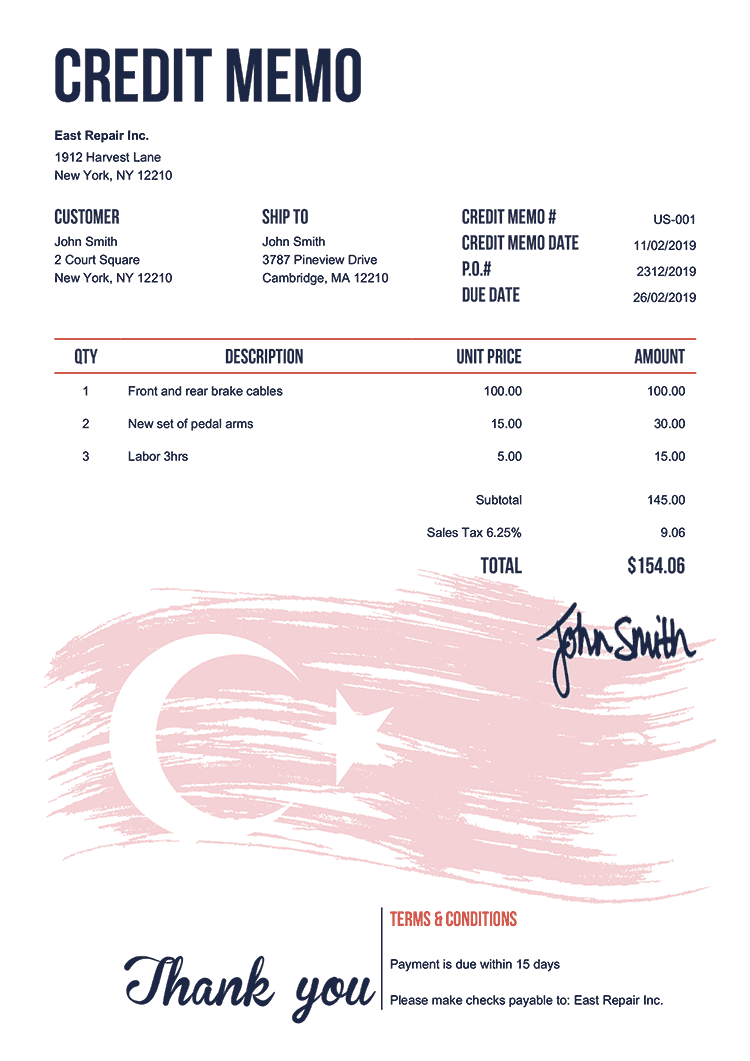 Credit Memo Template Us Flag Of Turkey