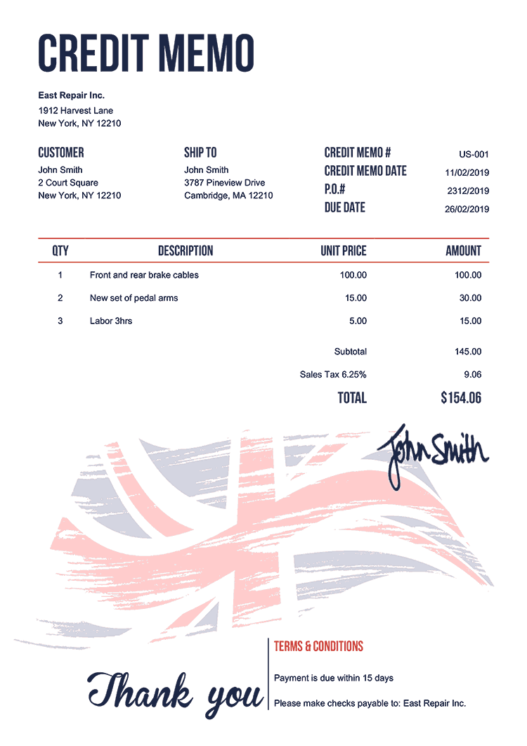 Credit Memo Template Us Flag Of United Kingdom