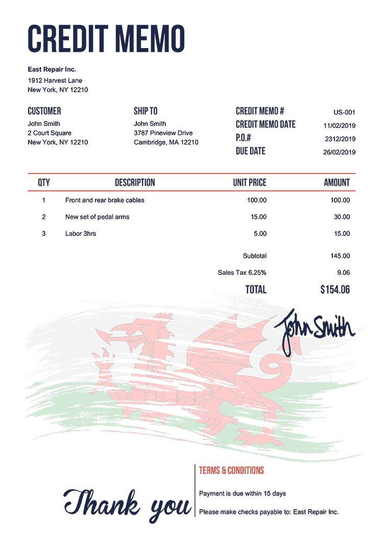 Credit Memo Template Us Flag Of Wales